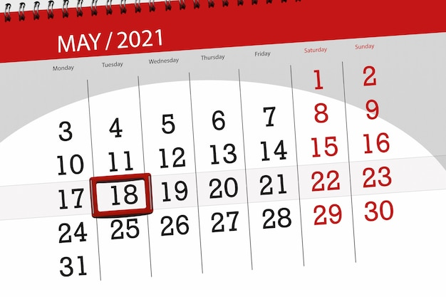 その月のカレンダープランナーは2021年5月、締め切り日、18、火曜日です。