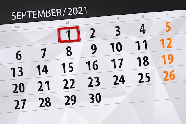 Планировщик календаря на месяц сентябрь 2021, крайний день, 1, среда.