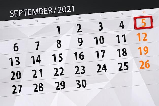 Планировщик календаря на месяц сентябрь 2021, крайний день, 5, воскресенье.