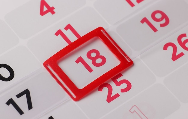 Calendar planner for month, 18 day of month