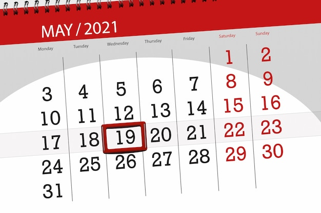 Calendar planner for the month may 2021, deadline day, 19, wednesday.