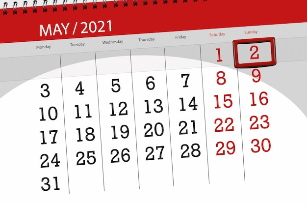 Calendar planner for the month may 2021, deadline day, 2, sunday.