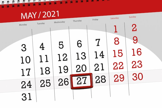 Calendar planner for the month may 2021, deadline day, 27, thursday.