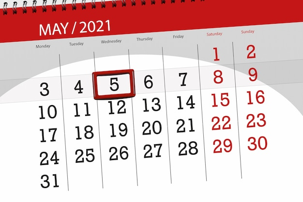 Calendar planner for the month may 2021, deadline day, 5, wednesday.