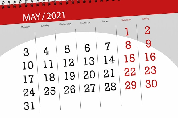 Calendar planner for the month may 2021, deadline day.