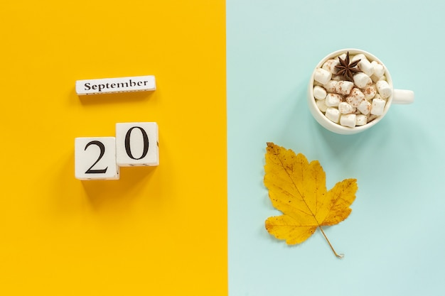 Calendar september 20, cup of cocoa with marshmallows and yellow autumn leaves