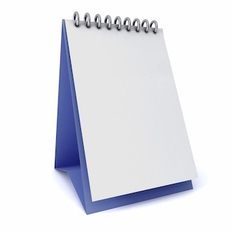 分離された白の上の青い基板上のカレンダーの白いテンプレート