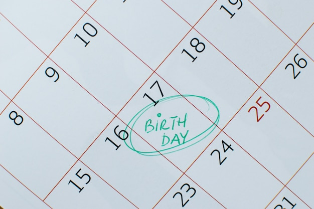Calendar with a birthday appointment circled in breen