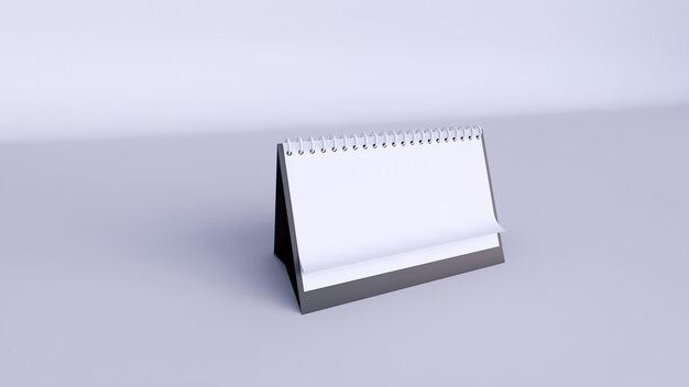 Calendar with blank pages and spiral. desktop horizontal paper calendar front view