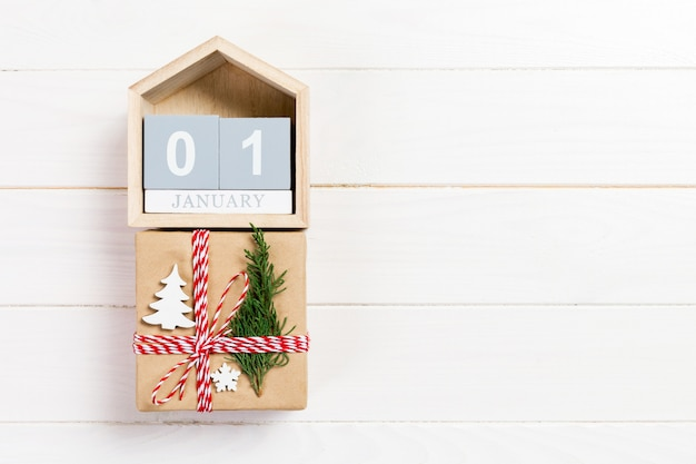 Calendar with date 1 january and gift boxes o