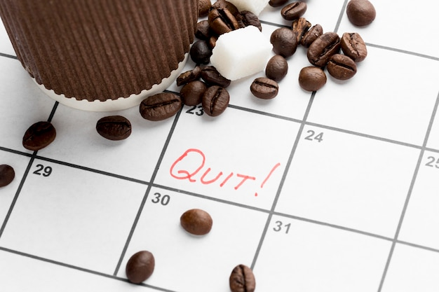 Calendar with date for quit drinking coffee