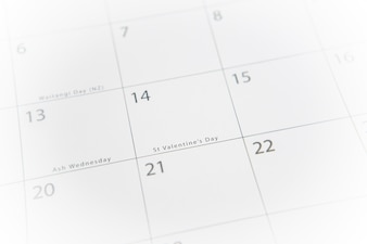 Calendar with focus of valentines day