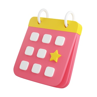 Calendar with marked date 3d render illustration. pink floating organizer with rings, yellow bound and noted with star day for event or holiday planning concept isolated on white background.
