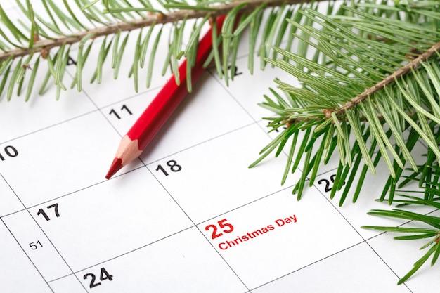 Календарь с отмеченной датой рождества и ветви дерева
