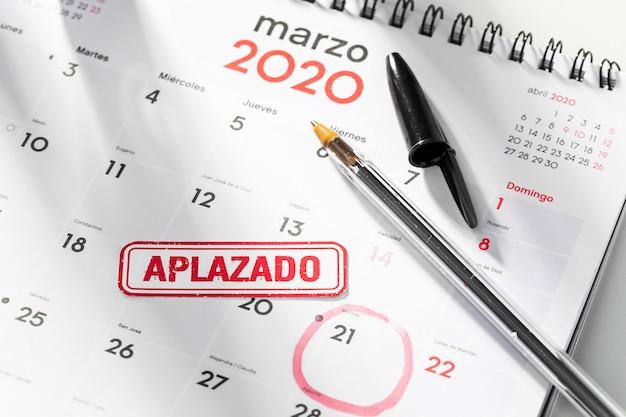Calendar with postponed date