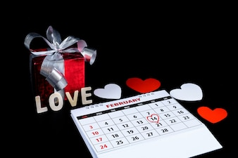Calendar with red hand written heart highlight on February 14 of Saint Valentines day