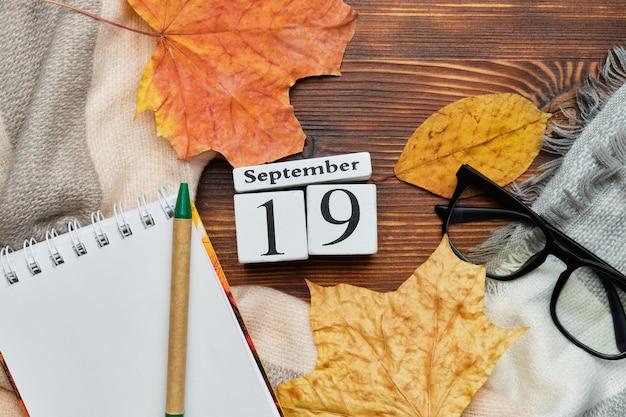 Календарь с девятнадцатым днем сентября