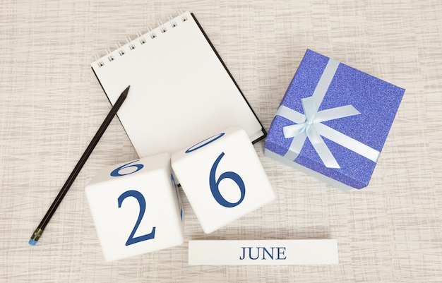 Calendar with trendy blue text and numbers for june 26