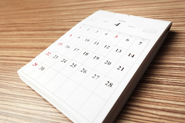 Calendar on wooden table