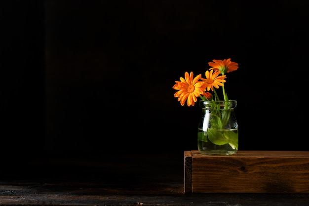 Calendula bouquet in a small vase on a black background.