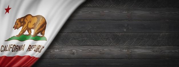 California flag on black wood wall, usa. 3d rendering