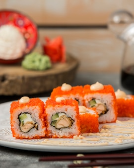 California roll tempura ebu maki with red tobiko