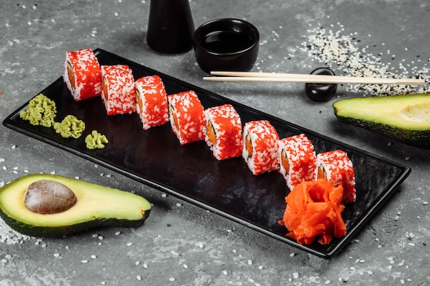 California sushi style rolls, with raw vegetables, food border background