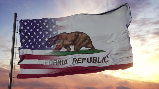 California and usa flag on flagpole. usa and california mixed flag waving in wind