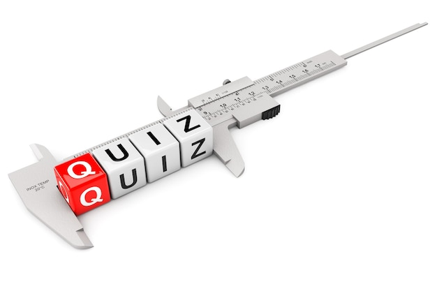 Caliper measure quiz cubes on a white background