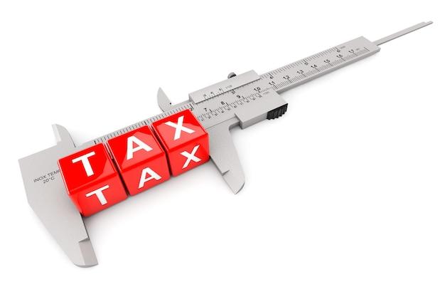 白い背景の上のキャリパー測定税キューブ