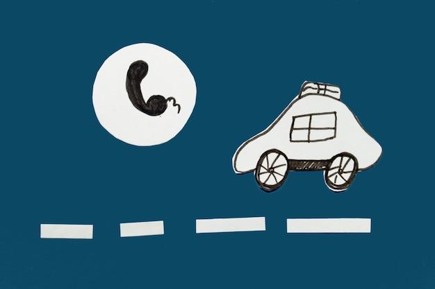 택시 이미지 컨셉에 전화 및 예약
