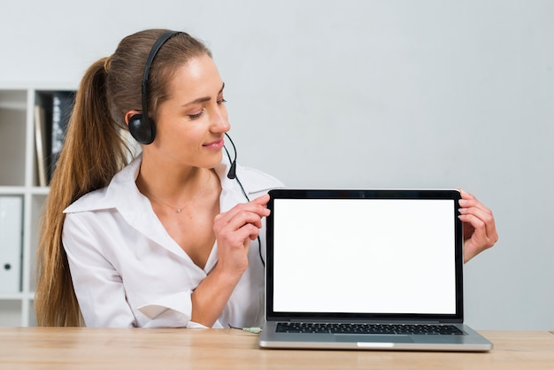 Call center agent presenting laptop template