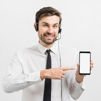 Call center agent presenting smartphone template
