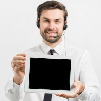 Call center agent presenting tablet template
