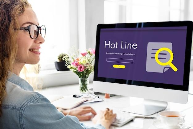 Call center hot line information concept