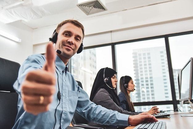 Call center with team workers