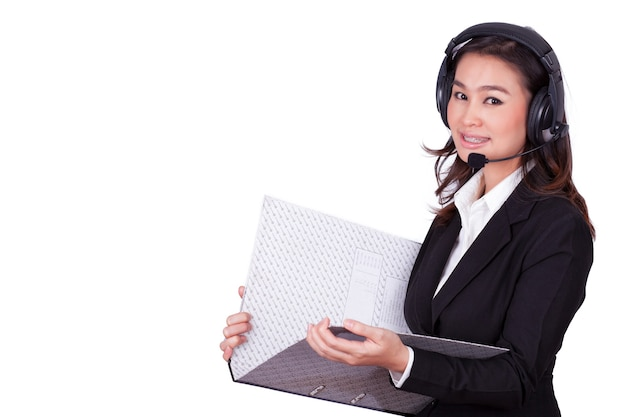 Женщина call-центра на белом фоне.