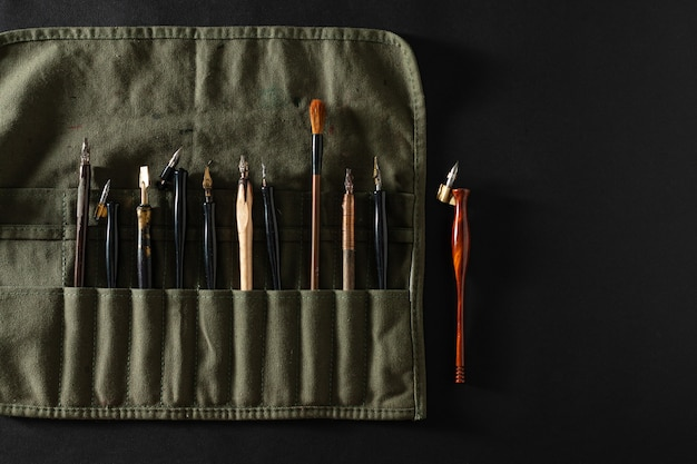 Calligraphy nibs in a pencil case