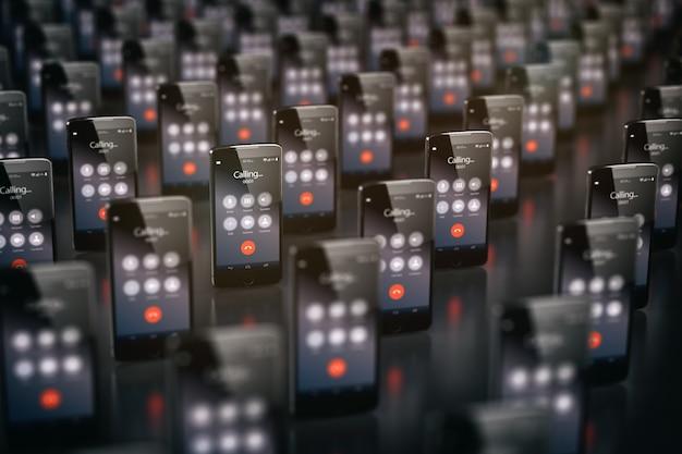 スマートフォンを呼び出す。携帯電話のビジネスコミュニケーションの概念。 3dイラスト