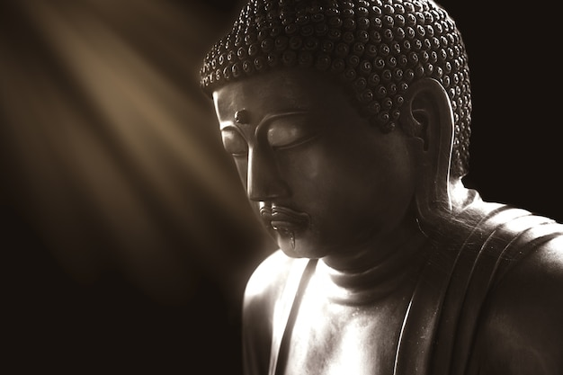 Calm buddha with light of wisdom, peaceful asian buddha zen tao religion art style statue