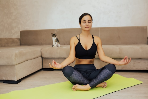Calm girl meditating with her cat staring. young attractive smiling woman doing yoga, sitting in half lotus exercise.