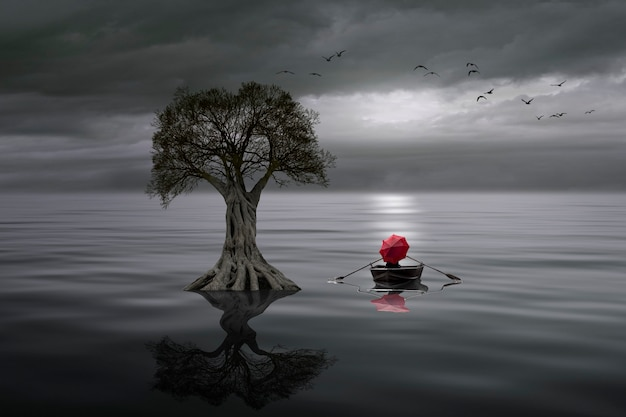 Calm lake with tree and rowing boat