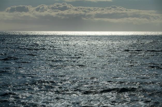 水しぶきと波のある穏やかな海の水面の質感。抽象的な自然の背景。アクア海の水面の背景。