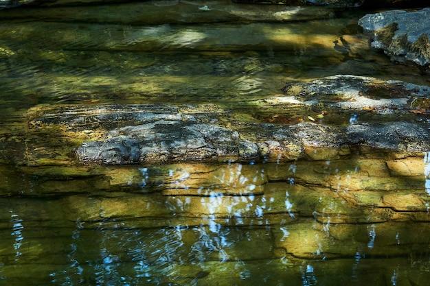 Спокойный участок горного ручья с прозрачной водой и каменистым дном, в воде отражается небо.