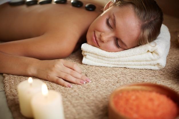 Calm woman sleeping in the spa