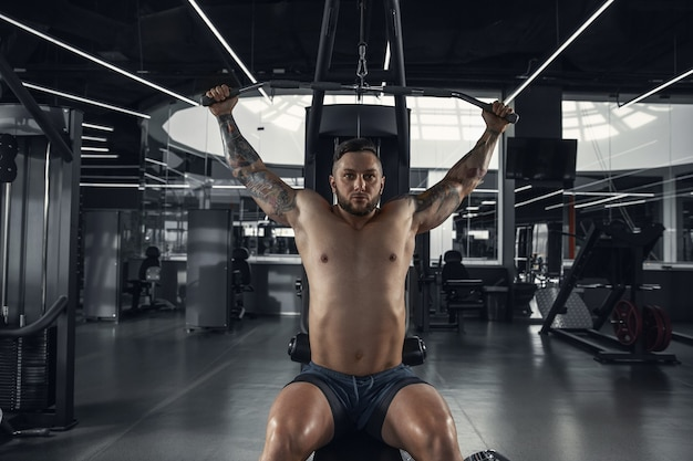고요한. 무게와 체육관에서 연습 젊은 근육 백인 선수. 강도 운동을하는 남성 모델, 그의 상체 훈련. 웰빙, 건강한 라이프 스타일, 보디 빌딩 개념.