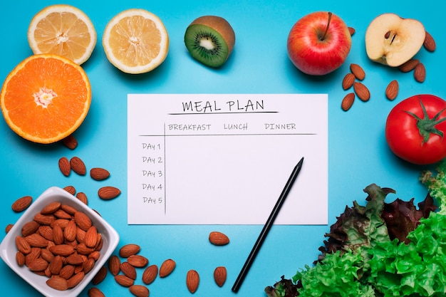 Calories control meal plan diet and weight loss concept top view of the meal plan fruits