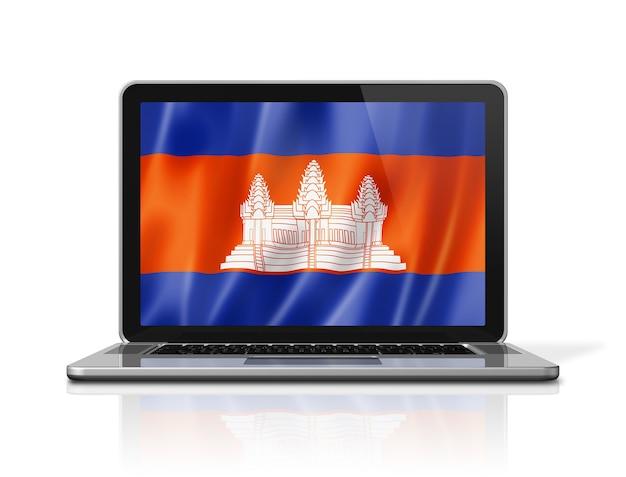 Cambodia flag on laptop screen isolated on white. 3d illustration render.