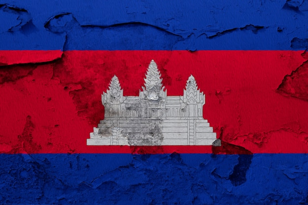 Cambodia flag painted on grunge cracked wall