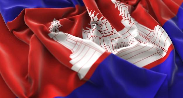 Cambodia flag ruffled beautifully waving macro close-up shot